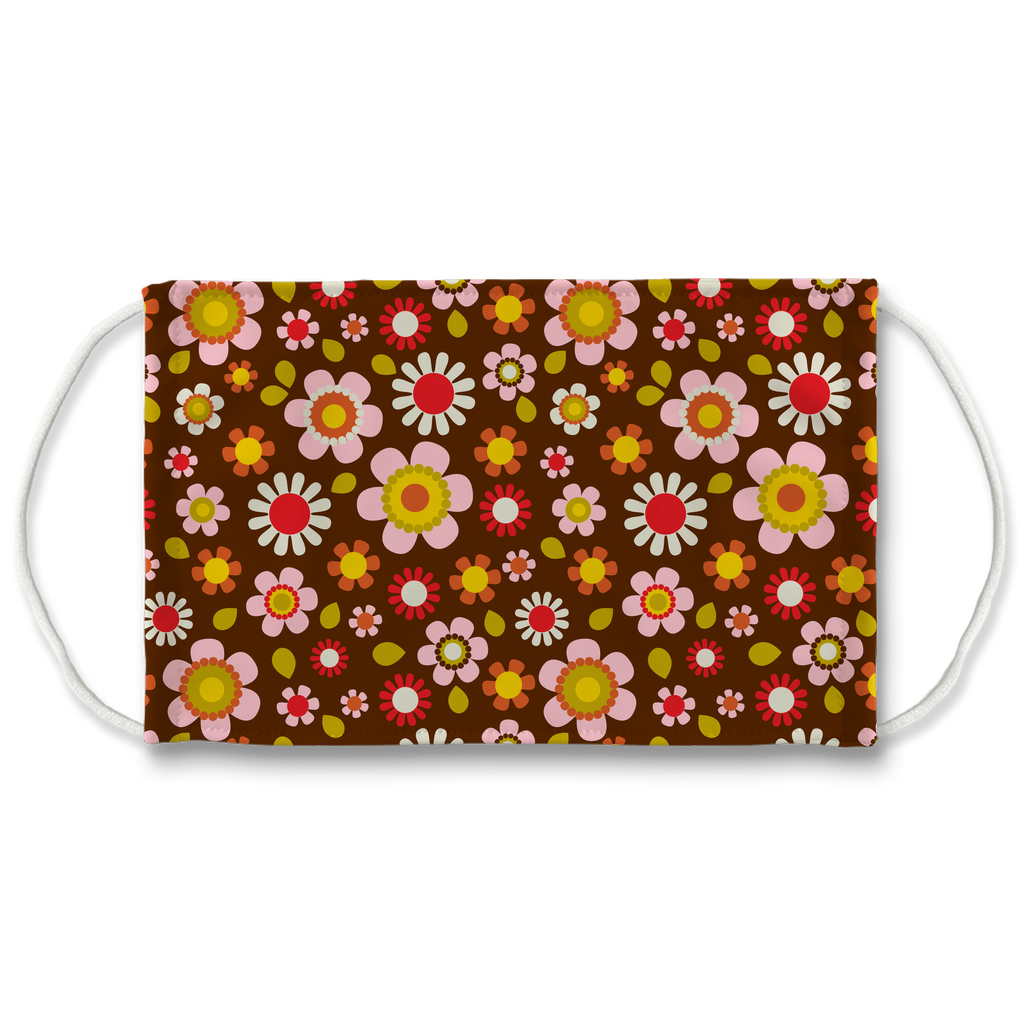 Dark Floral Geometric Pattern 7  Face Mask