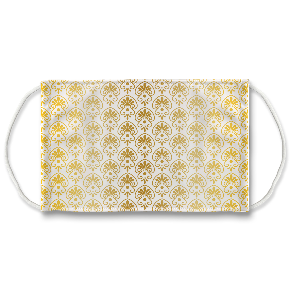 Gold Greek Ornamental Pattern 13  Face Mask