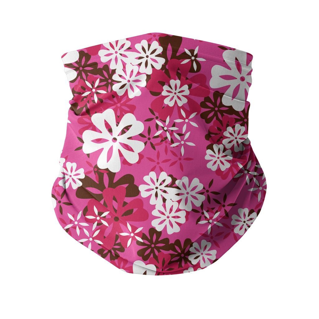 Seamless Pink Red Tropical Neck gaiter 3 Sublimation Neck Gaiter