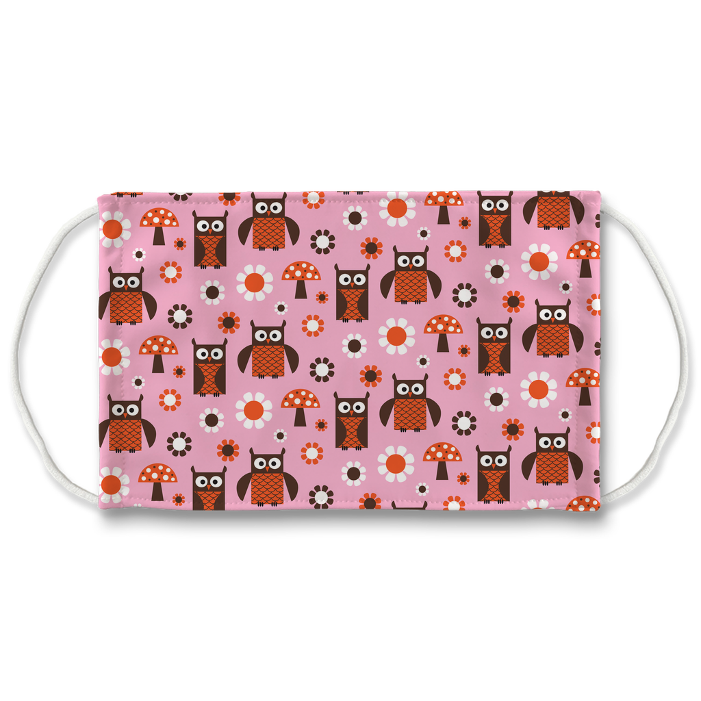 Pink Orange Owl Pattern 1  Face Mask