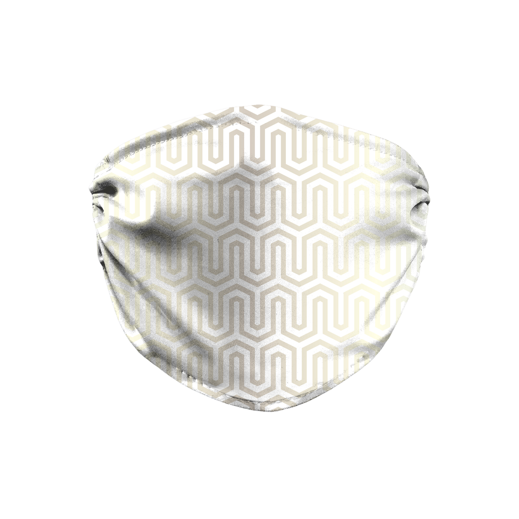 Metallic Silver Geometric 3  Face Mask