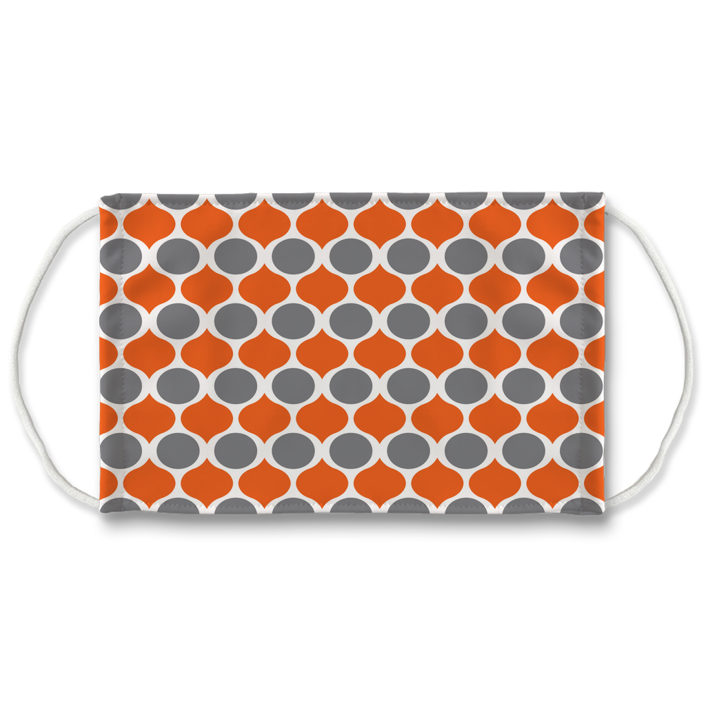 Orange Gray Pattern 1  Face Mask