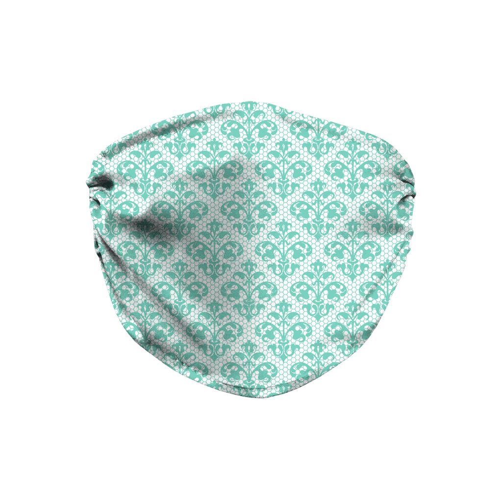 Aqua Lace Pattern 11  Face Mask