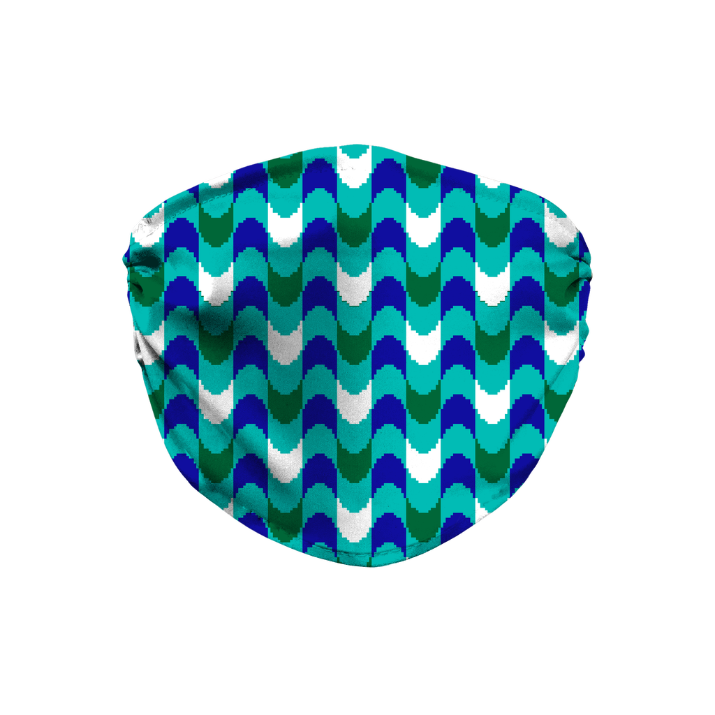Blue Green Bargello Pattern 3  Face Mask