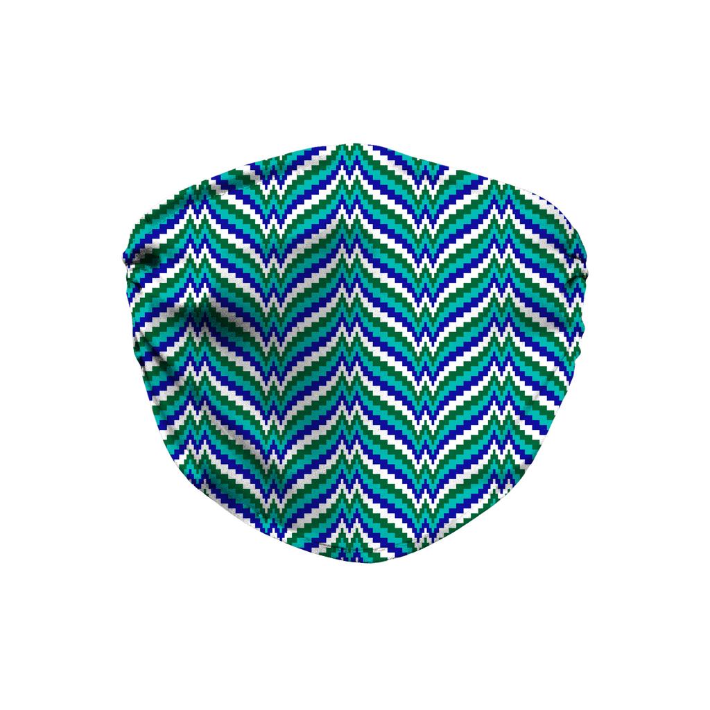 Blue Green Bargello Pattern 5  Face Mask