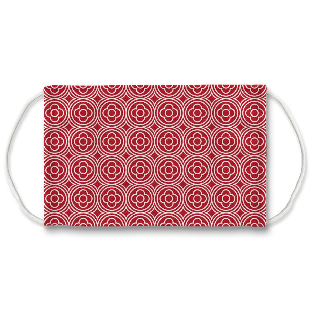 Red Moroccan Pattern 7  Face Mask