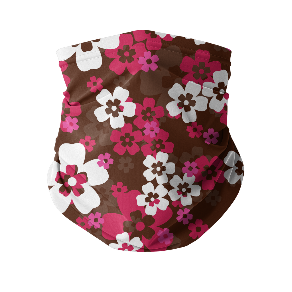 Seamless Pink Red Tropical Neck gaiter 4 Sublimation Neck Gaiter
