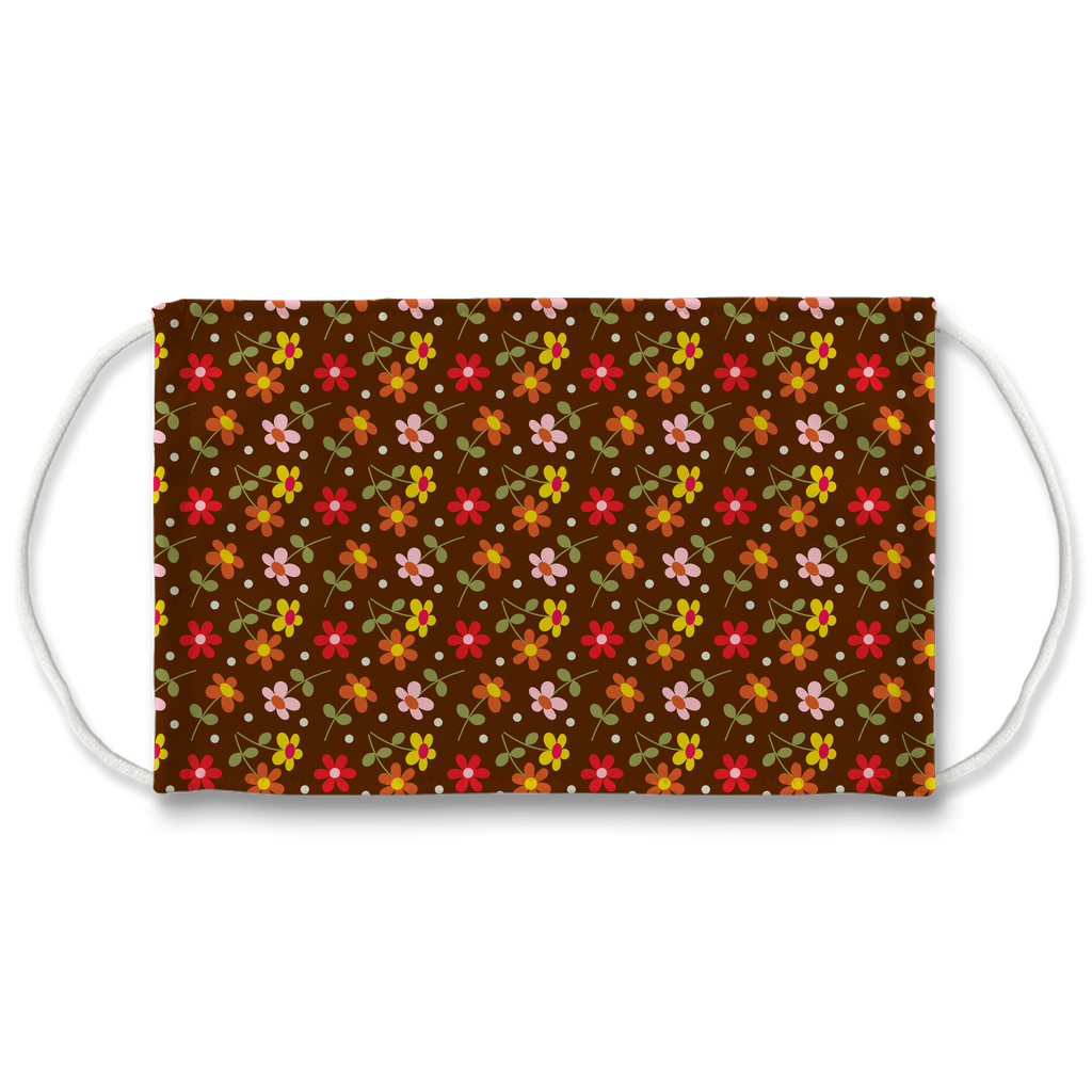 Dark Floral Geometric Pattern 11  Face Mask