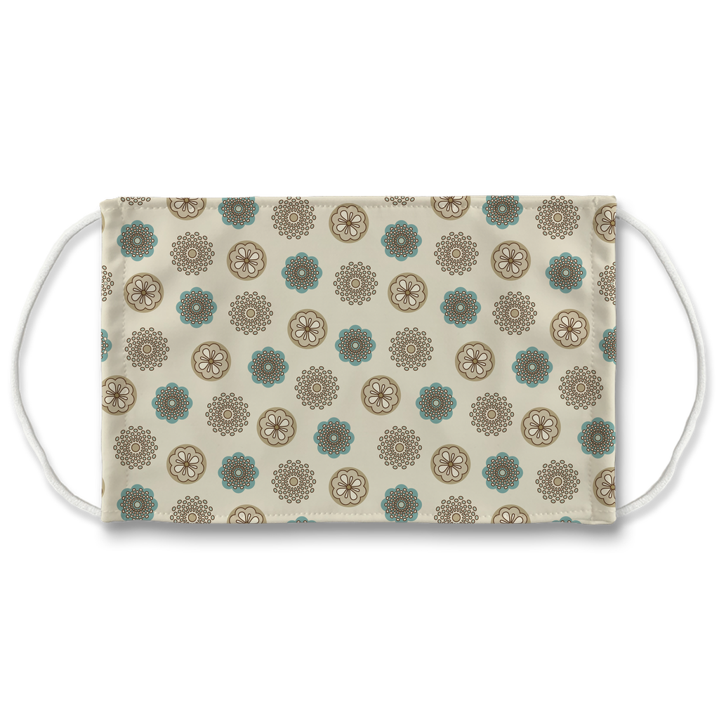 Patterns Aqua Tan Brown 3  Face Mask
