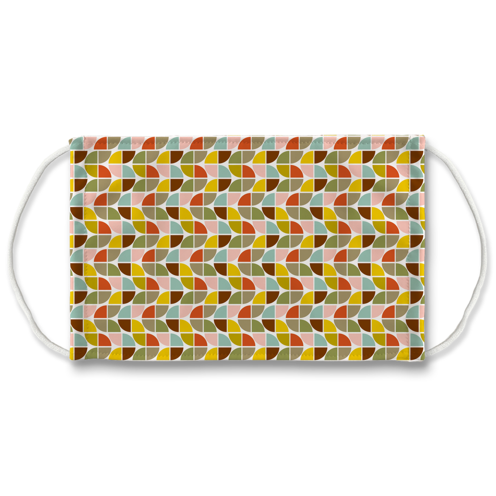 Retro Palette Geometric Pattern 10  Face Mask