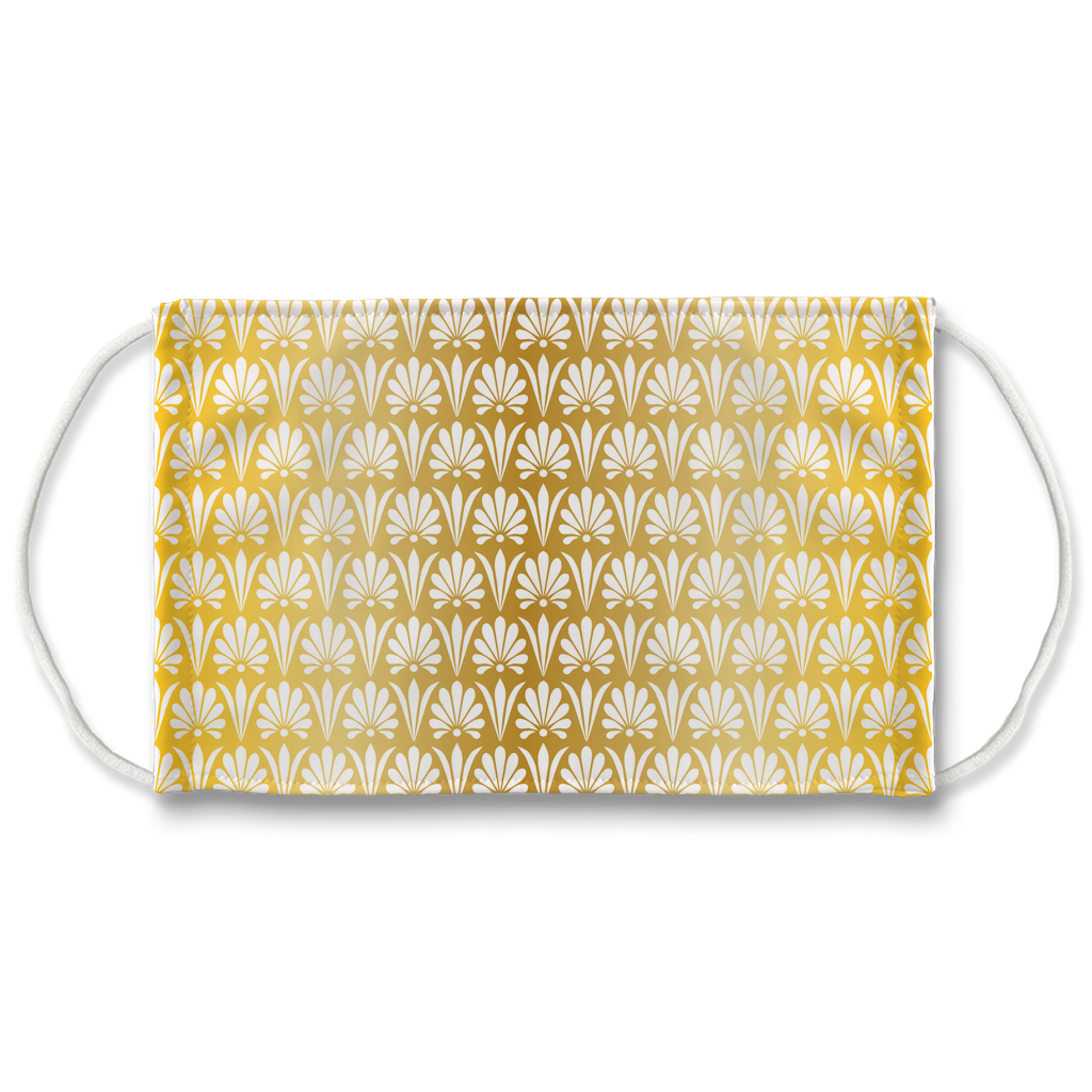 Gold Greek Ornamental Pattern 10  Face Mask