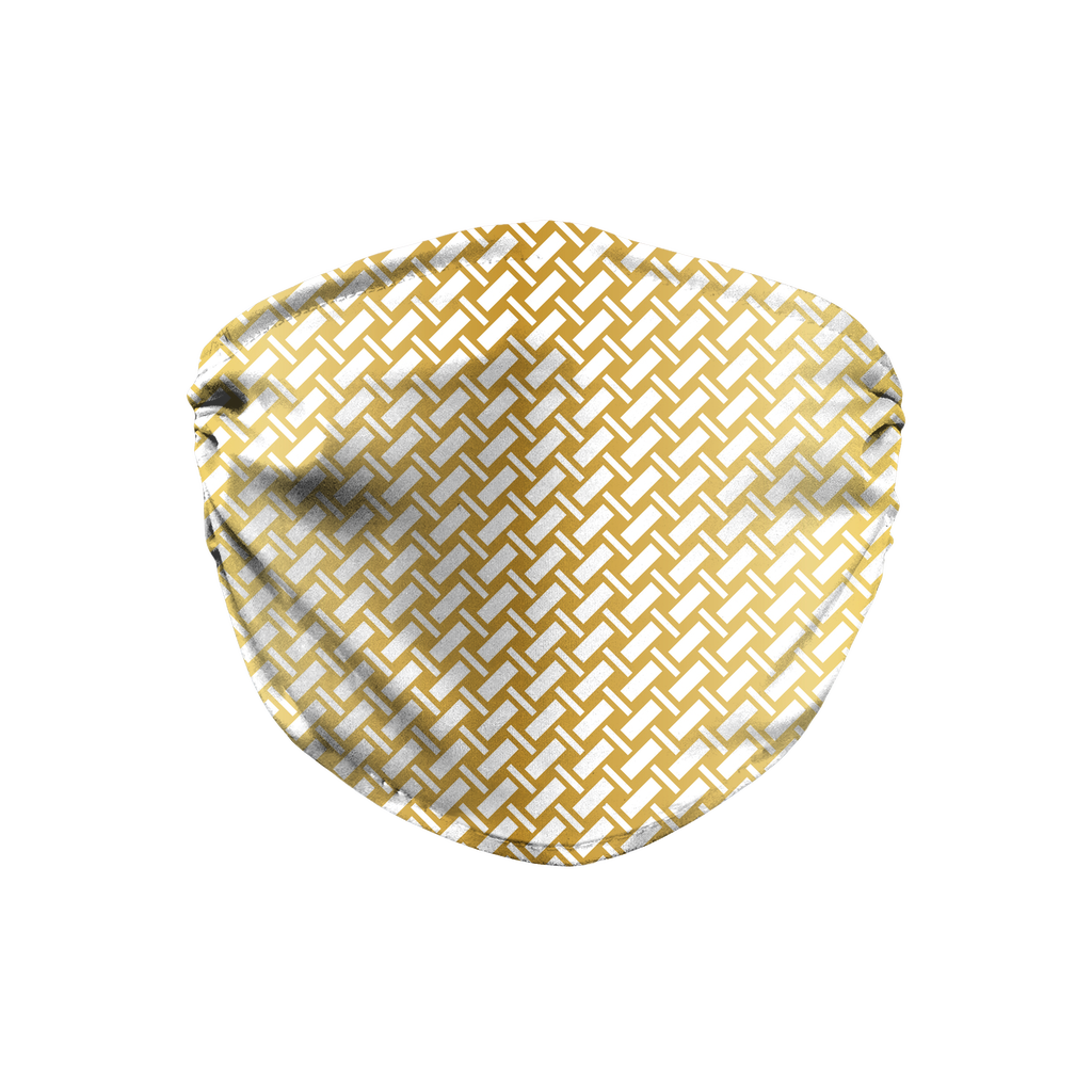 Metallic Lattice Pattern gold 5  Face Mask