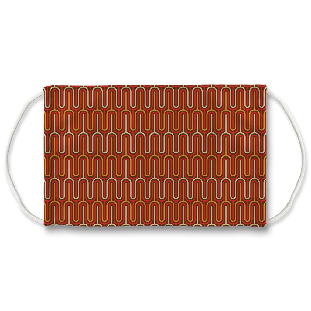 Mod Orange Brown Pattern 1  Face Mask
