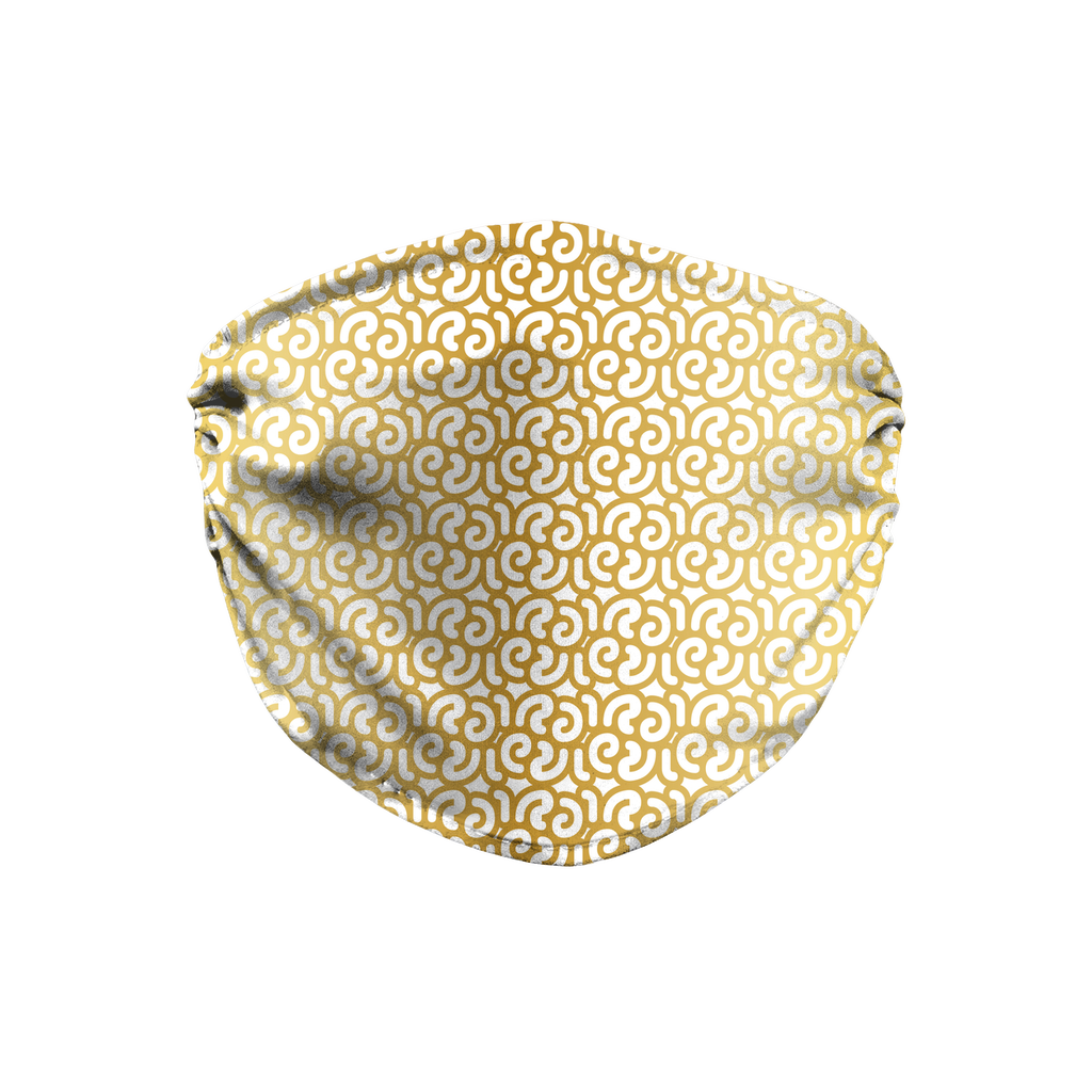 Gold White Mod Geometric 2  Face Mask