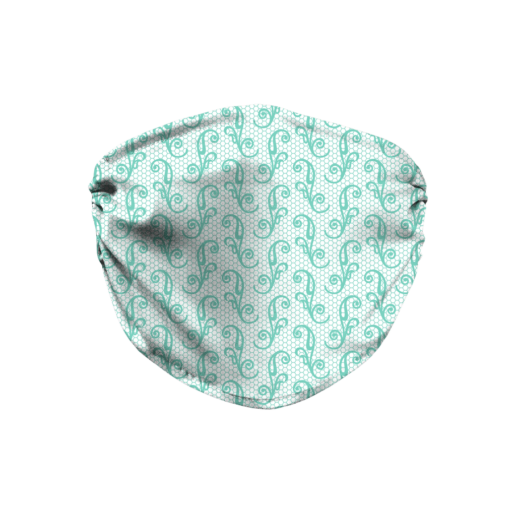 Aqua Lace Pattern 1  Face Mask