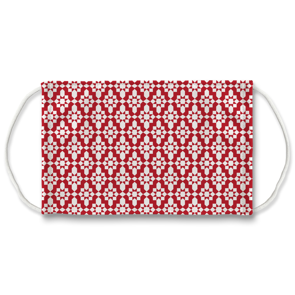Red Moroccan Pattern 1  Face Mask