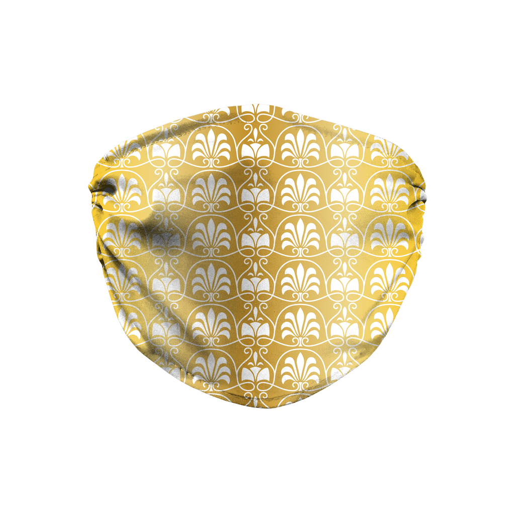 Gold Greek Ornamental Pattern 12  Face Mask