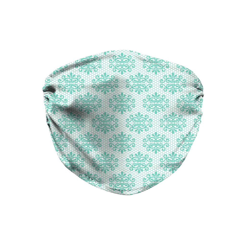Aqua Lace Pattern 2  Face Mask