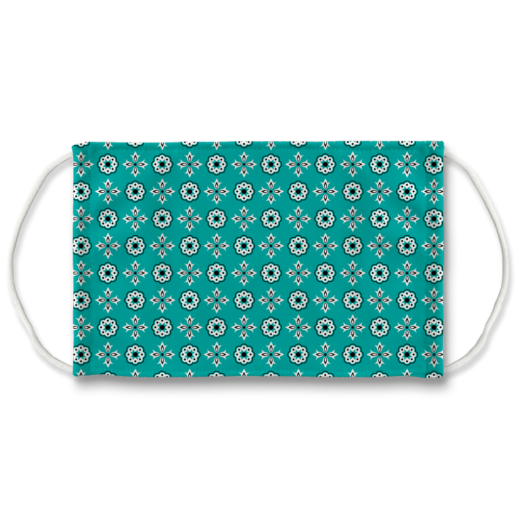 Turquoise Blue Bandana Pattern 12  Face Mask