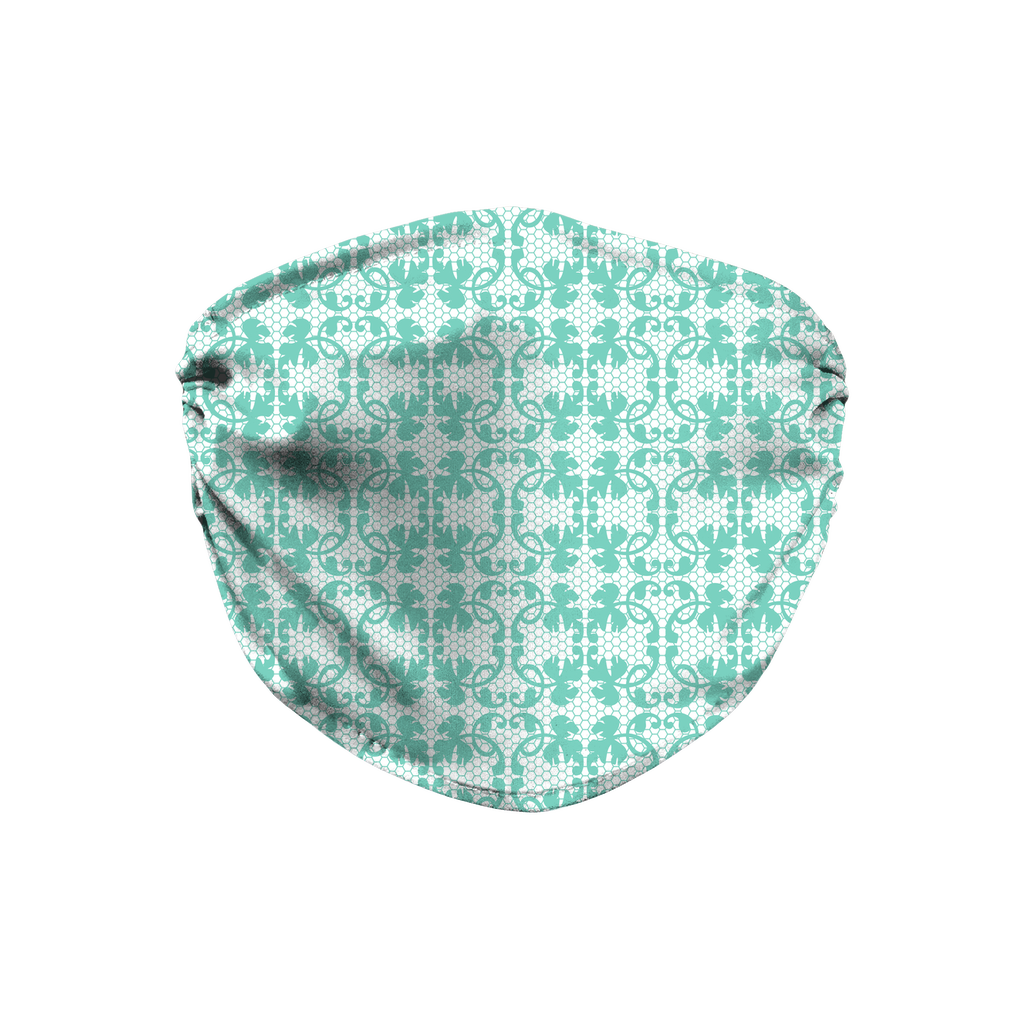 Aqua Lace Pattern 12  Face Mask
