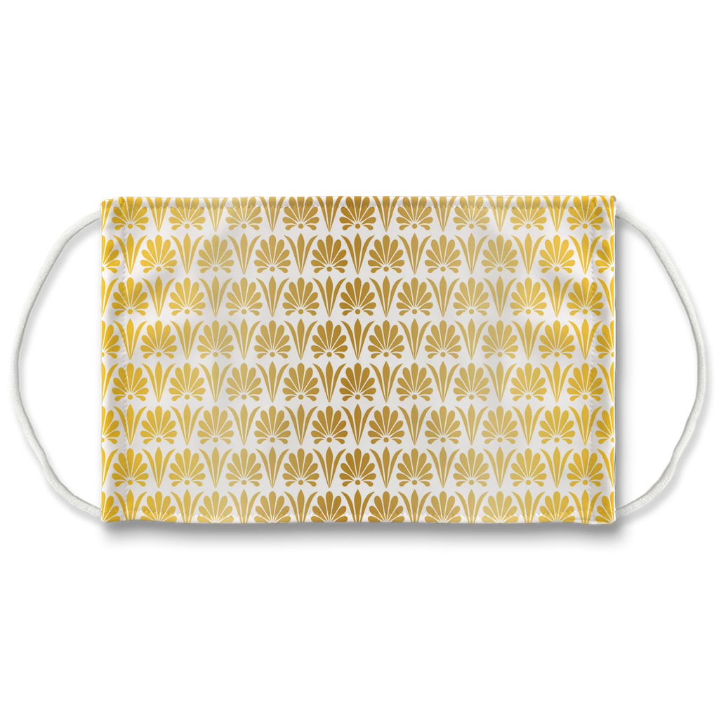 Gold Greek Ornamental Pattern 9  Face Mask
