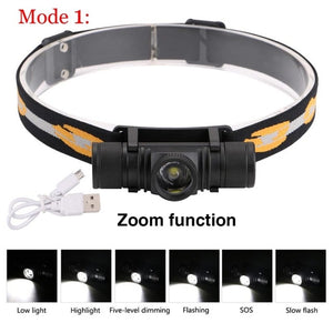 3800LM XM-L2 LED Headlamp USB Rechargeable Flashlight - Head Lamp