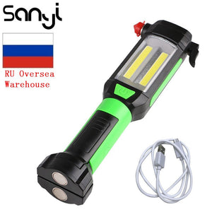 SANYI Magnetic Light COB LED Flashlight USB Charging Portable - Lamp