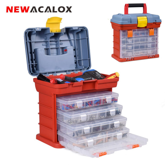 NEWACALOX Outdoor Tool Case 4 Layer Fishing Tackle Portable Toolbox - Tools