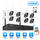 Zoohi CCTV System Wireless Surveillance System Kit 1080P 2MP - Security