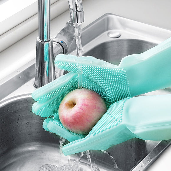 1 pair Magic Silicone Dishwashing Cleaning Gloves - Garden & House