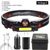 XP-G Q5 built-in 18650 battery LED headlamp COB work light 2 light mode with magnet Waterproof - Head Lamp