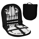 Camping Silverware Kit Stainless Steel Plate Spoon Wine Opener Fork Napkin - Camping
