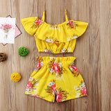 Toddler Girls Royal Floral Strap Tops Shorts Summer - Kids