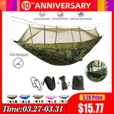 Portable 1-2 Person Hammock with Mosquito Net Ultralight Hanging Bed - Anti Moquito