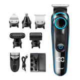 5 In 1 LCD Digital Display Electric Cordless Nose Ear Beard Trimmer - Hair Clipper