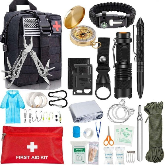 Survival Kit Tool Kit 47 IN 1 Emergency SOS Tools Emergency Blanket Tactical Pen Flashlight Pliers Wire Saw - Survival Kit