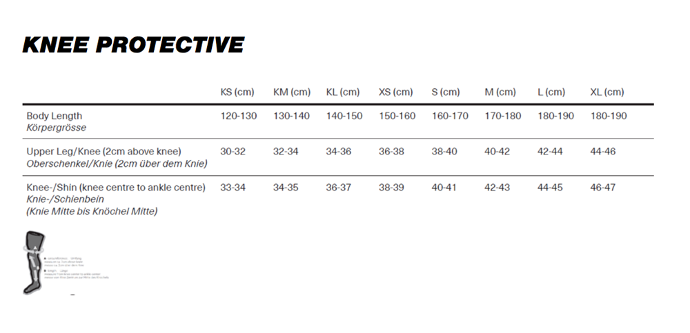 IXS Dagger Knee Guard size chart