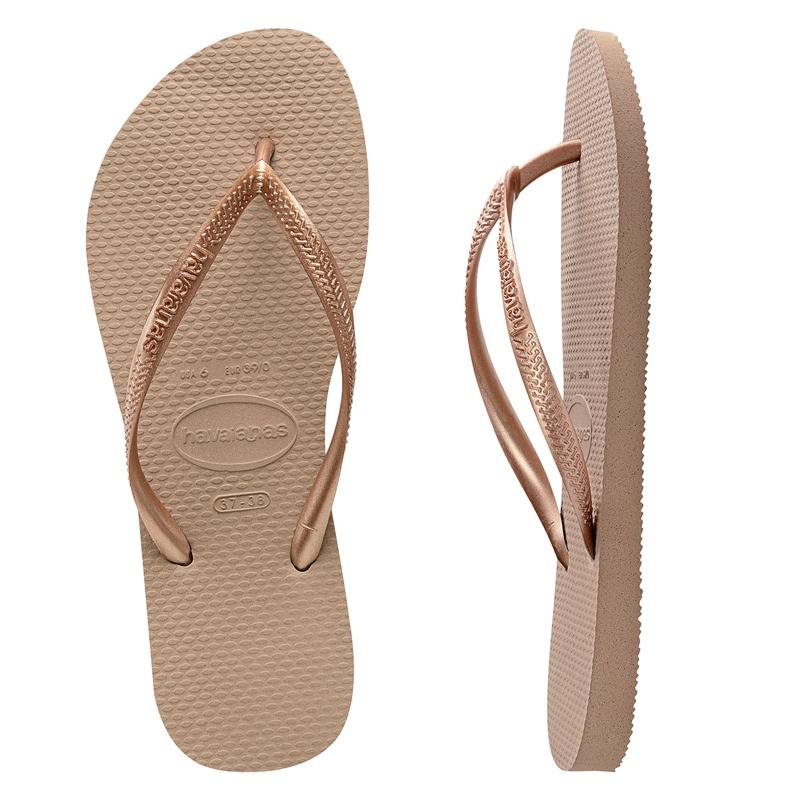 HAVAIANAS WOMENS SLIM ROSE GOLD JANDALS