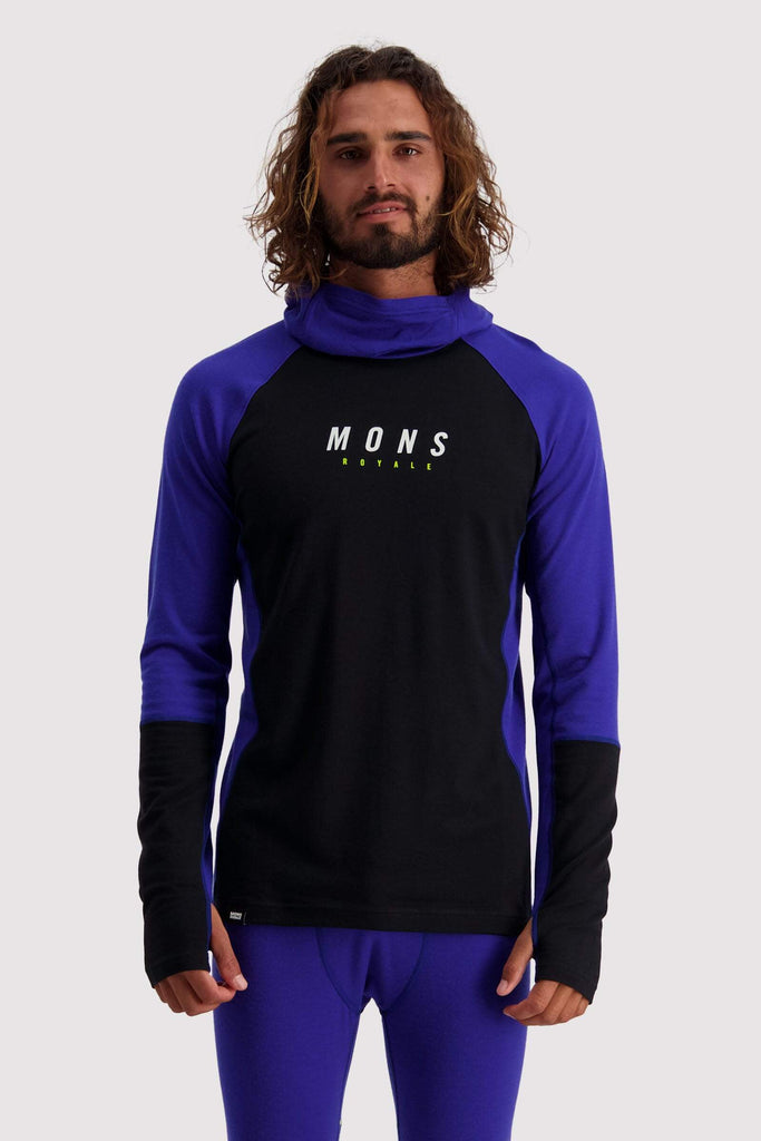 MONS ROYALE OLYMPUS 3.0 PULLOVER HOOD MENS BluBlk S