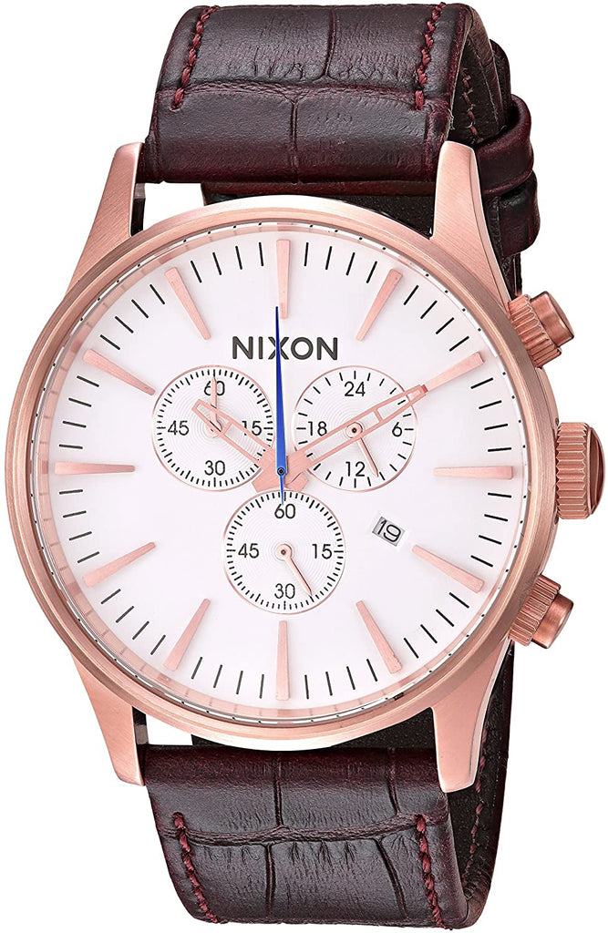 NIXON SENTRY CHRONO LEATHER WATCH RseGldBrnGat