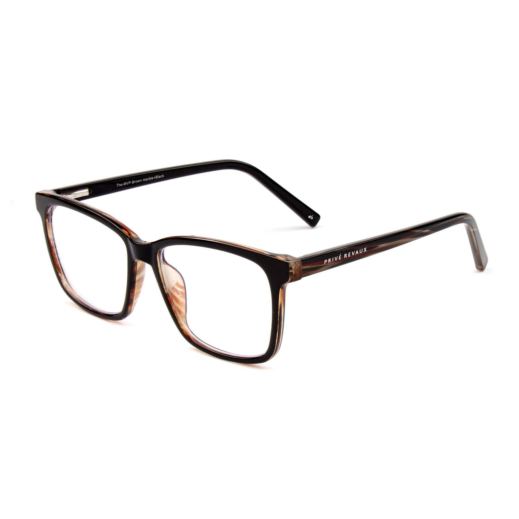 PRIVE REVAUX THE MVP BLUE LIGHT GLASSES CHESTNUT BROWN TORT/CLEAR