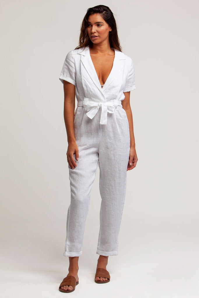 RHYTHM EMMI SHORT SLEEVE WRAP JUMPSUIT