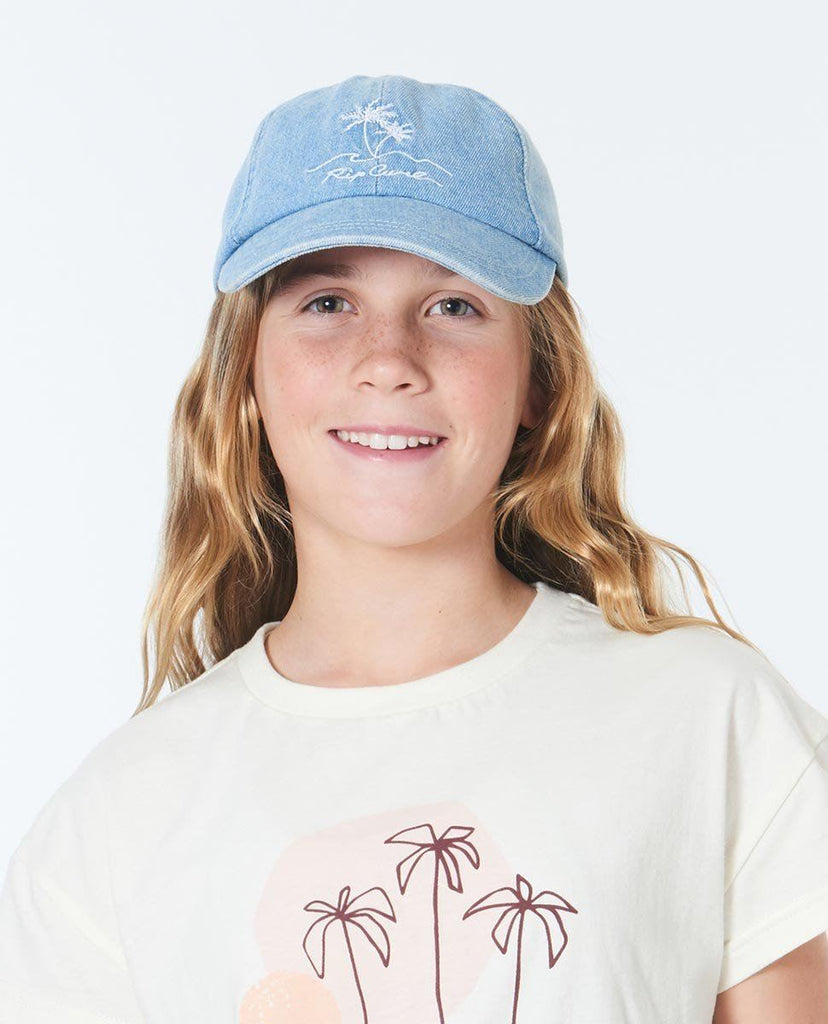 Rip Curl Girls Surf Trip Cap is a denim six panelled cap with front embroidery.