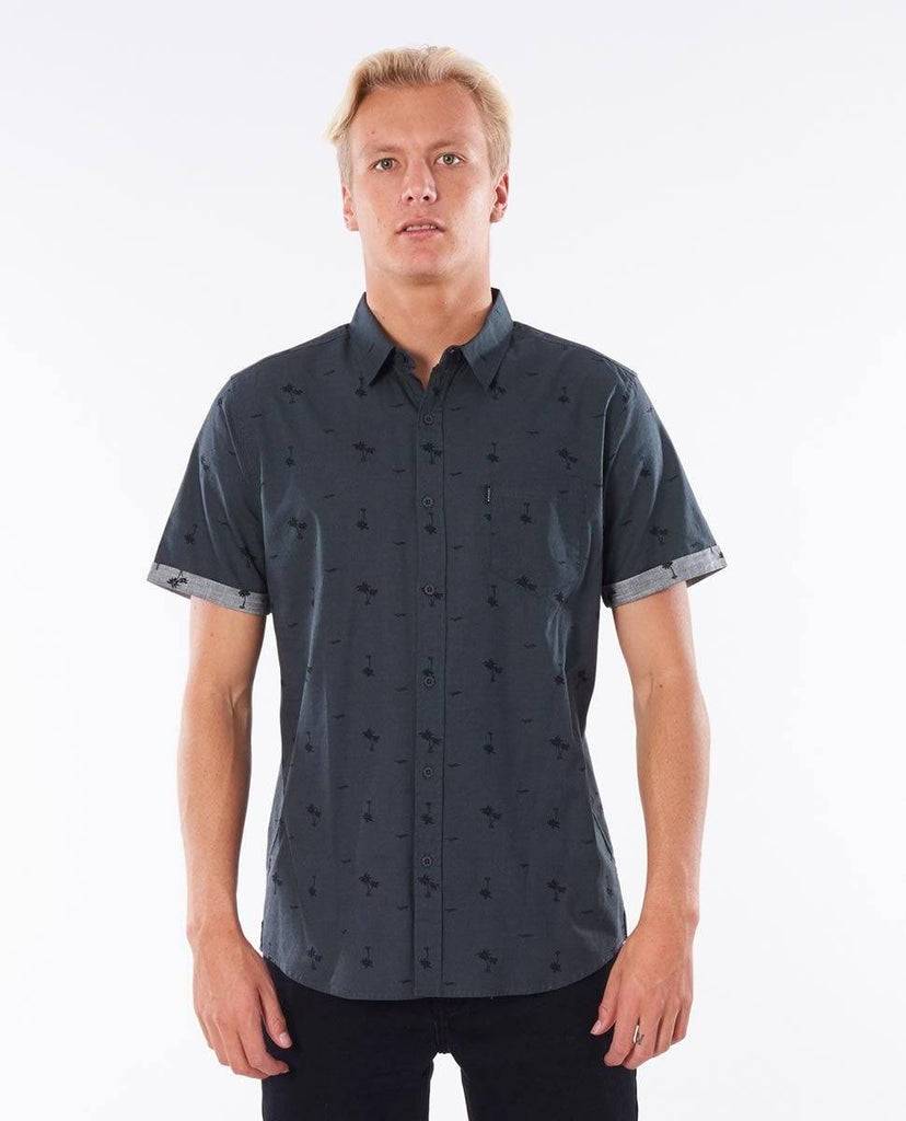 Rip Curl Summer Palm Shirt is a woven cotton slub shirt with all over print,  & rolled sleeves.