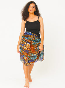 Lana Silk Georgette Scarong in Electric Leopard Print