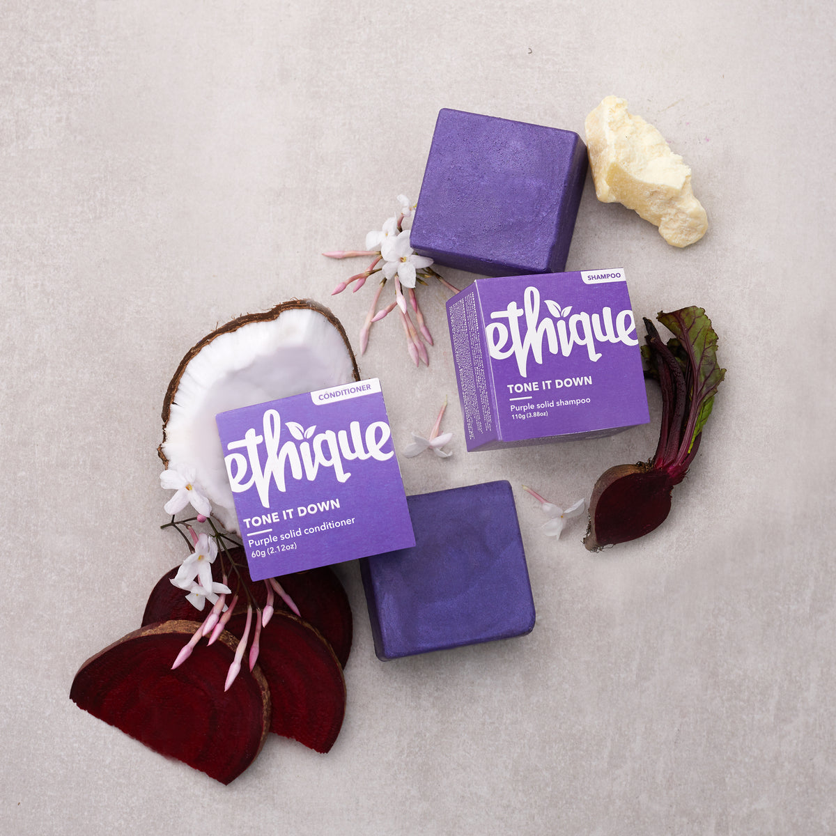 Tone it Down - Ethique Purple Shampoo & Conditioner - Neat Natural Products NZ