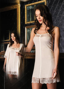 Bondy 2 Piece Nightgown Pajama Set for Women Featuring Chemise with Lace and Bow Details and Matching Robe with Belt