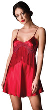 Load image into Gallery viewer, Bondy Lingerie Babydoll Sexy Satin Sleepwear with Embroidery and Fringe Detail