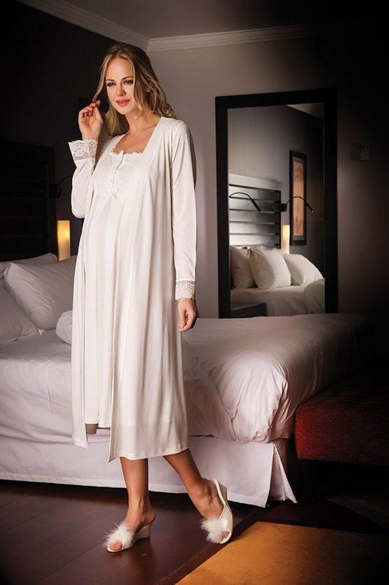 2 Piece Maternity,Nursing Nightgown Pajama Set Featuring Dress w/Lace and Pearl Details, Matching Robe w/Belt