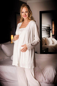 3 Piece Ivory Maternity, Nursing Pajama Set w/Pretty Lace Details Featuring Nursing Top Pants and Robe w/Belt